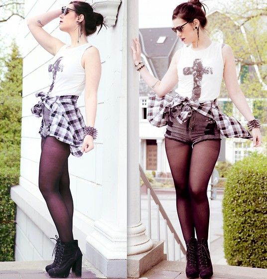 H Shades, Primark Shirt, Claires Earcuff, Forever 21 Lumberjack Shirt, Nowistyle Shorts, H Tights, Primark Heels