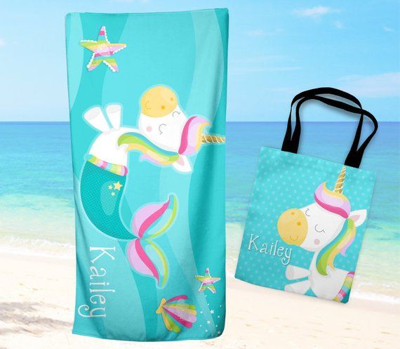 Sale Unicorn Mermaid Beach Towel Personalized Beach Towel And