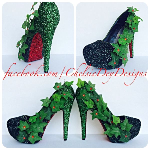 Poison Ivy Inspired Green Red Leaves Cosplay Comic Con Glitter Pump... ($120) ❤ liked on Polyvore featuring shoes, pumps, black, women's shoes, black pumps, comic book, black high heel pumps, red glitter pumps and red high heel shoes