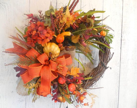 Fall wreaths, Pumpkin wreath, Fall initial, Burlap, Fall decor, Fall door…