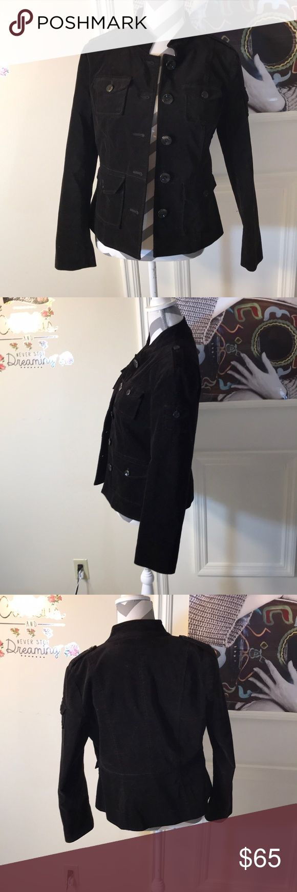 Kenneth Cole All Black Velvet Button Up Jacket Size 4 Kenneth Cole  VELVET!!!! (It's really in this season!!!) Lots of buttons & Pockets (all buttons are intact!)  Super stylish & hip! Kenneth Cole Jackets & Coats Pea Coats