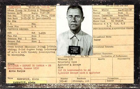 Alvin Karpis prisoner AZ#325