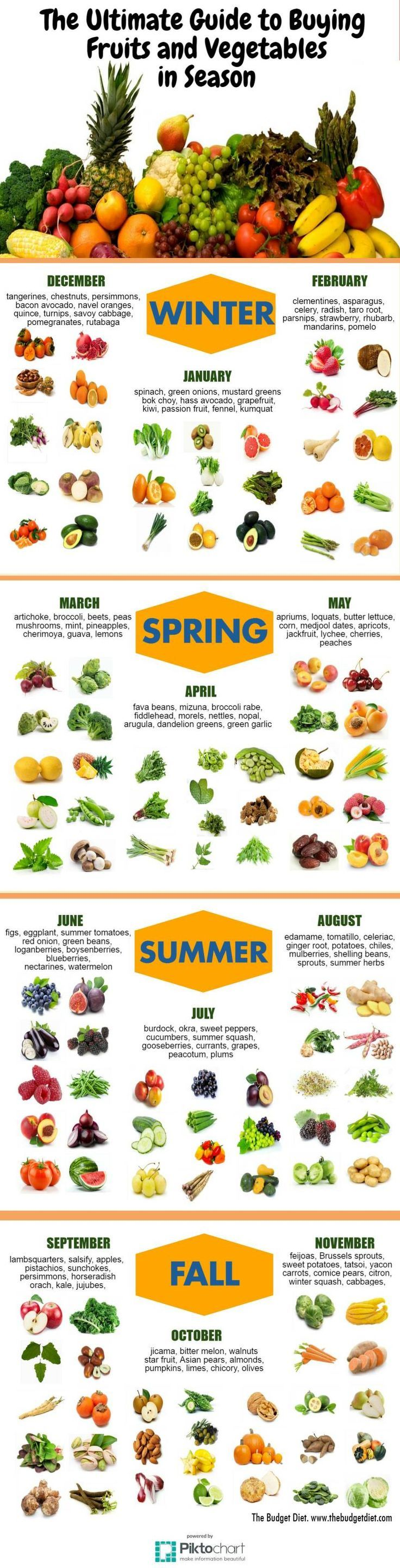 Always know what Fruits and Vegetables are in season with this in-depth guide.
