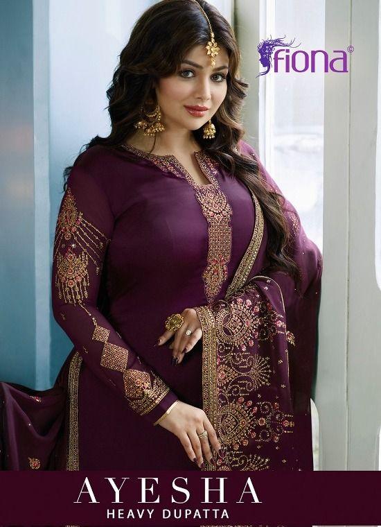 cf0edd81a1 Fiona Ayesha Heavy Dupatta Heavy embroidered Satin Georgette Straight Long  Dress Material Dealer Surat