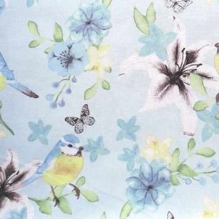 FF165.3 Blue Tits Watercolour Floral Blue