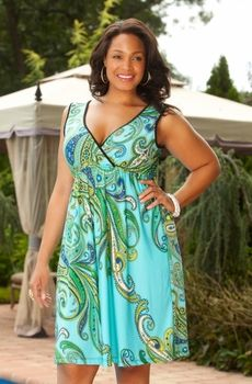 Women's Plus Size Cover Ups - Always For Me Cover Paisley Surplice Dress Style #9868 - $69