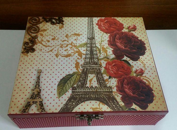 Porta jóias de mdf #vivaartesanato #mdf #decoração #paris #portabiju #portajoias #jóias