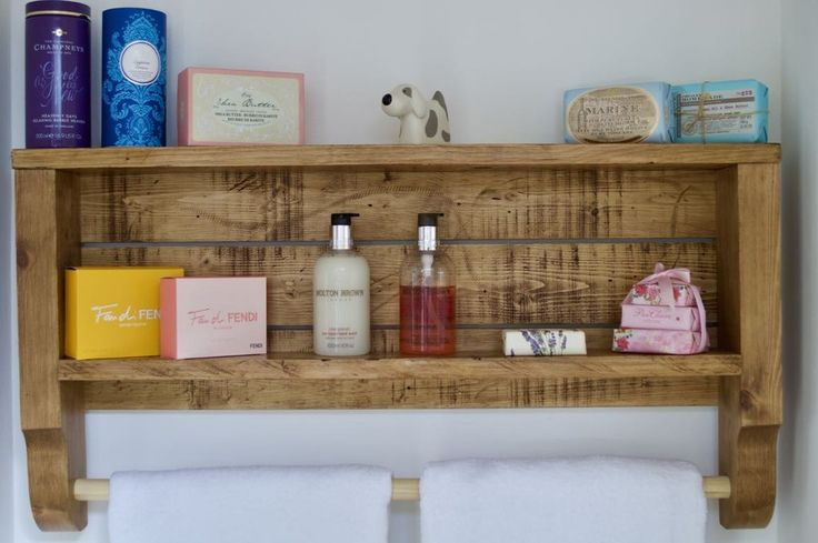 Rustic Wooden Towel Rail With Shelf