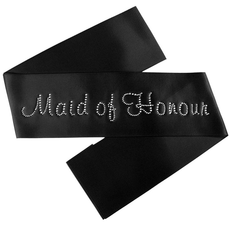 Maid of Honour Satin Sash with Crystals - Black - Bridal Party Sashes - Black Satin Bridal Party Sashes - The Bridal Party - Bride and Hens Sashes.....Definately gonna do these for my ladies!