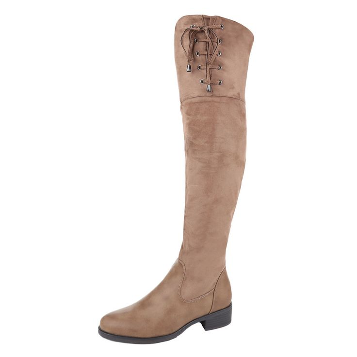 Modische Damen Overknee Stiefel aus Kunstleder mit flacher Sohle und schicker Schnürung am Schaft.