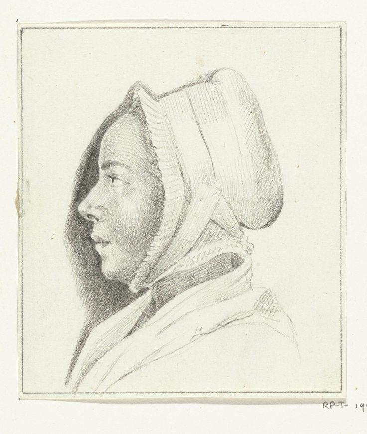Portret van een onbekende jonge vrouw, en profil naar links, Jean Bernard (1775 - 1833), the strap on the cap is pinned on