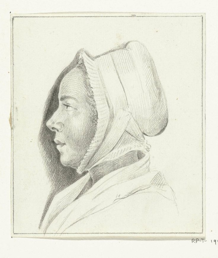 Portret van een onbekende jonge vrouw, en profil naar links, Jean Bernard (1775 - 1833), the strap on the cap is pinned on