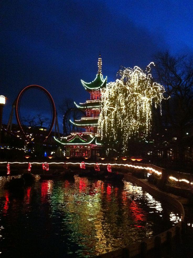 Beautiful christmas decorations at Tivoli, Copenhagen, Denmark