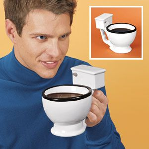 NEW! Toilet Mug - Toilet Mug for that cup of java that's really good to the last drop! Enjoy your morning brew with this one-of-a-kind potty shaped mug. Amusing gag coffee mug is a surefire conversation starter that'll leave 'em flushed with laughter! Holds 12 fl. oz. Ceramic. (Product Number HC2449) $9.99 CAD