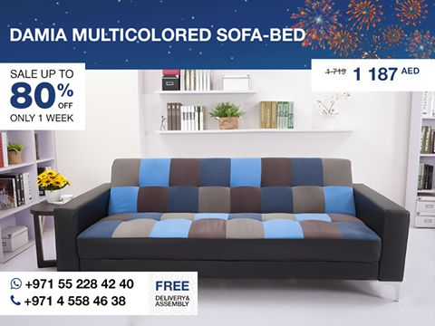 Create a simple, sleek look in Your living space using this versatile Damia sofa-bed. Featuring an upholstered in a black faux leather frame, multicolored fabric squares on seat and back that are filled with high-density foam and zigzag springs, and chrome metal legs, this sofa is bold and sophisticated. Its adjustable back allows it to function as a sofa, lounger or bed that makes it perfect for a small apartment or studio! More details: http://gtfshop.com/damia-multicoloured-sofa-bed-dubai