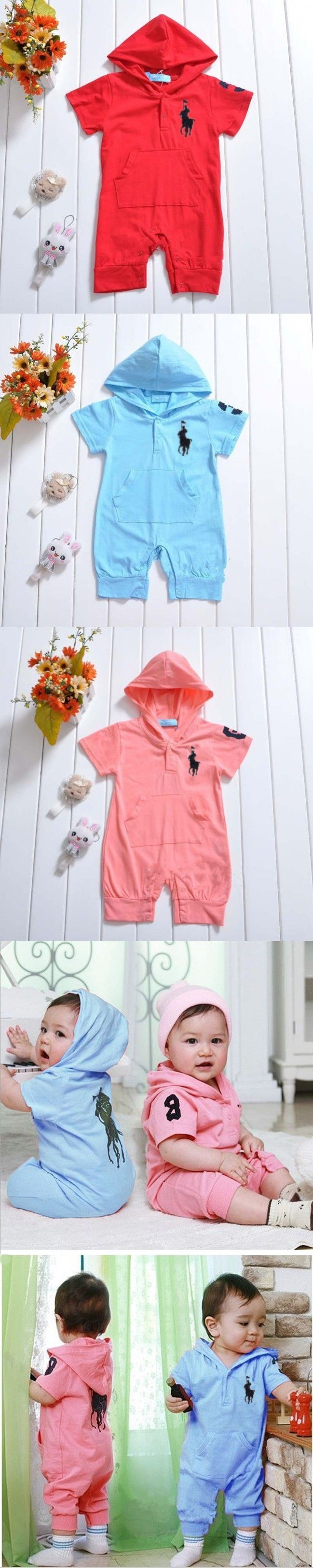2016 Summer Newborn Baby Rompers Cotton Short Polo Romper Baby Boys Clothes Newborn Jumpsuit Ropa Bebes Brand Baby Girl Clothing $9.98