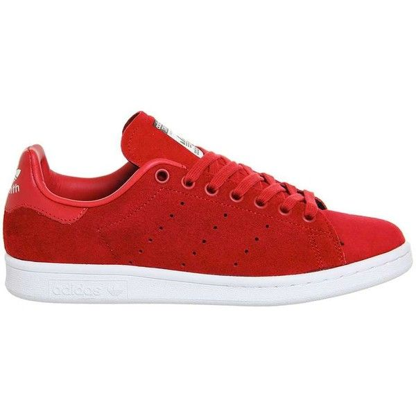 adidas supplied by Office Adidas Stan Smith Trainers ($64) ❤ liked on Polyvore featuring shoes, sneakers, red, red trainers, leather sneakers, real leather shoes, red shoes and red leather sneakers