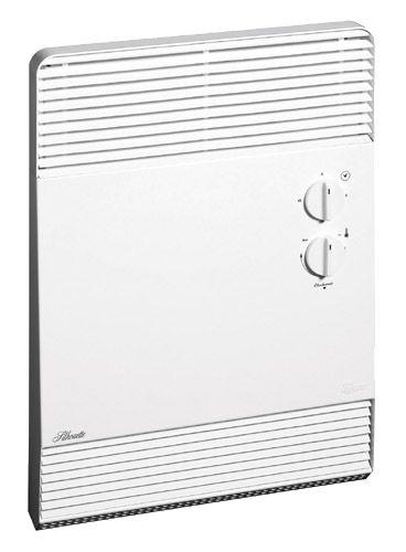 VENTILO-CONVECTEUR SALLE DE BAIN : Ventilo-convecteur à thermostat électronique et minuterie pour salle de bain, installation en surface ou encastré. 750 watts conve tion sur thermostat, 2000 watts avec air forcé sur la minuterie.