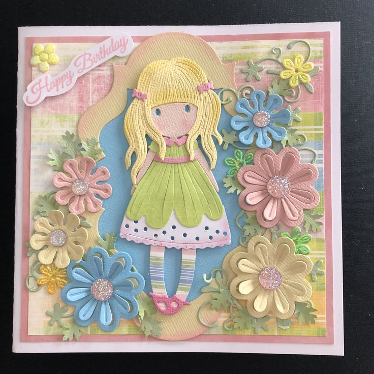 Girl die cut card by Lorraine Smallacombe