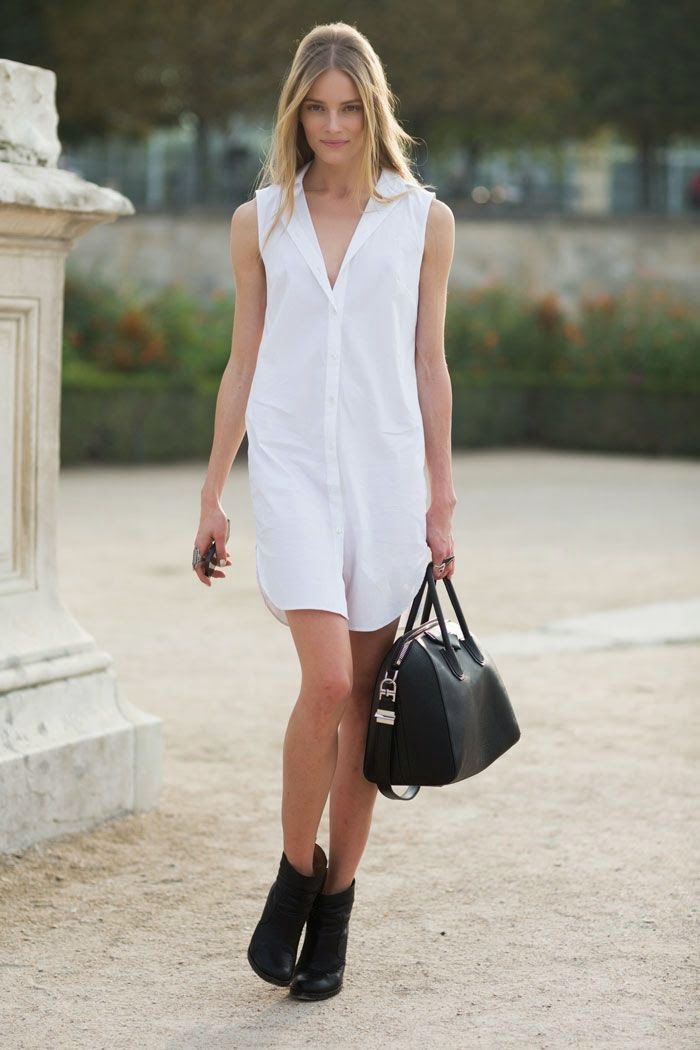 Look con vestido camisero blanc&witte.