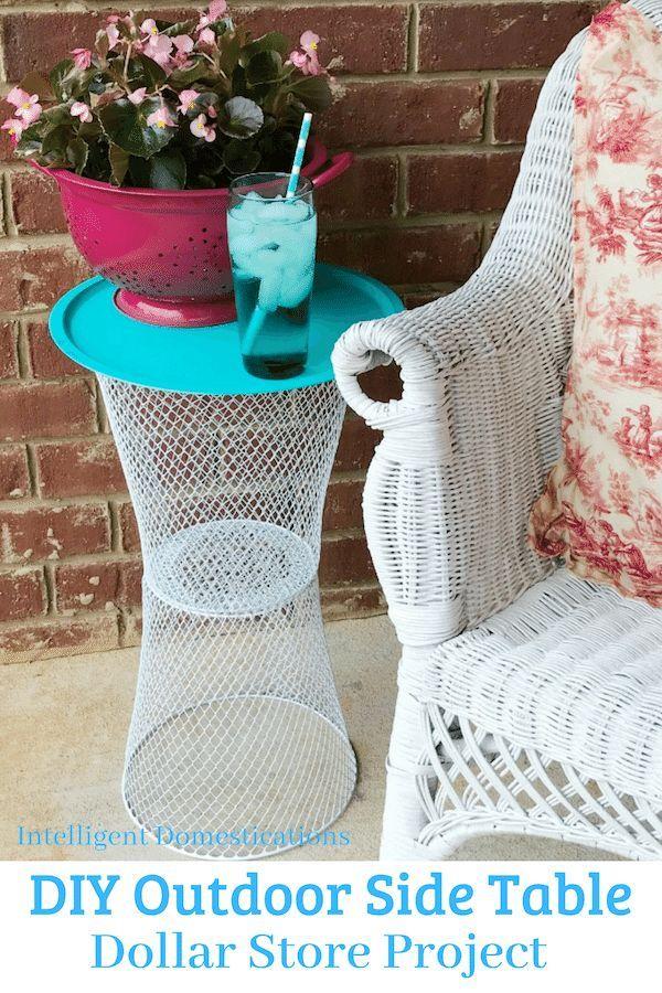 Diy Wire Basket Outdoor Table Diy Outdoor Table Diy Outdoor Decor Dollar Tree Diy Crafts