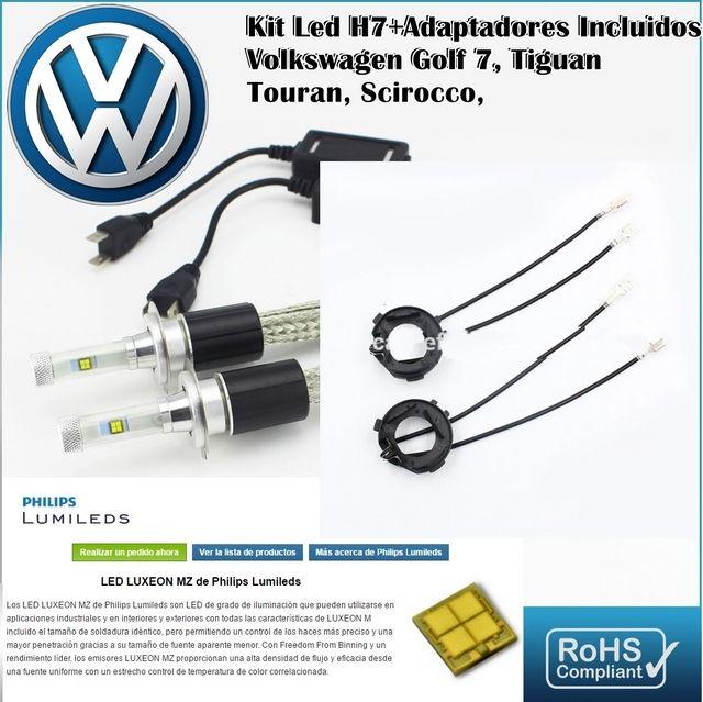 Kit Led Volkswagen Golf 7 Tiguan con led PHILIPS de 9600 Lúmenes, Kit de conversión de Faros Halogenos H7 a Faros Led + Adaptadores :: MERCAELITE, kit xenon,Kit Led,Bombillas Led y Xenon,Accesorios