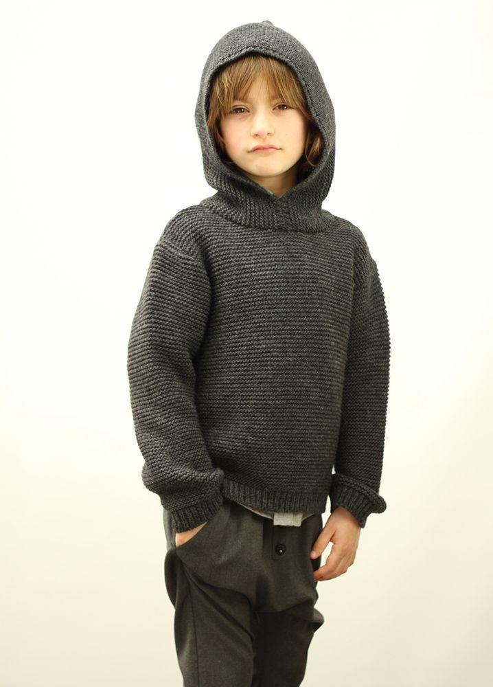 Knitted Hoodie dark grey #motoreta #kids AW1415 #lookbook