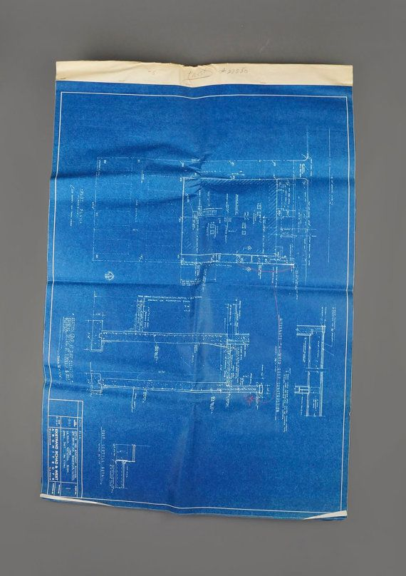24 x 34 1950s Original Architectural by VintageInquisitor on Etsy