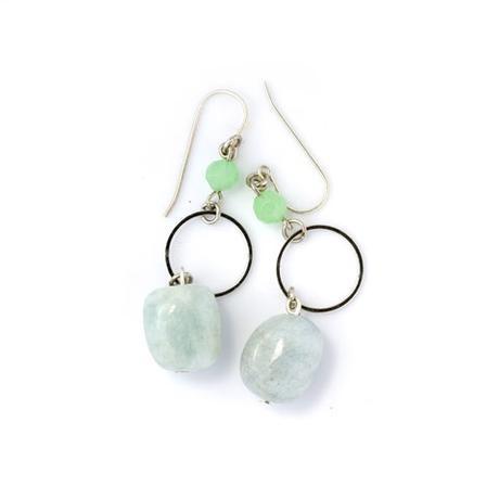 Blossom Handmade Aqua Hoop Earrings - thumbnail for Hoops Aqua (EHA)