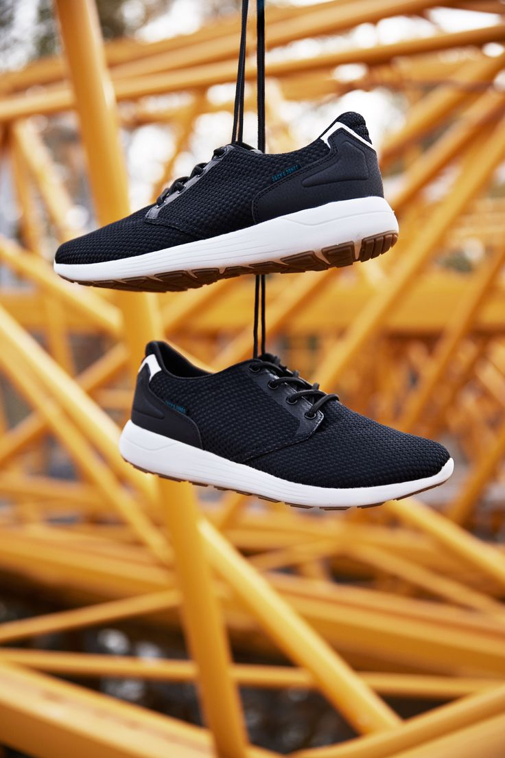 Black trainers with raised white sole. Comfortable and easy to style. | JACK & JONES FOOTWEAR
