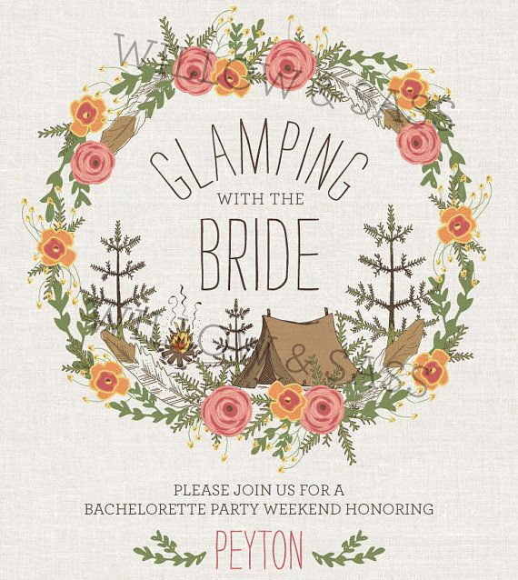Printable Glamping with the Bride Invitation by WillowandSass