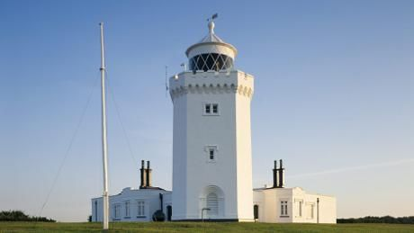 A view of the South Foreland Lighthouse in the early morning light.