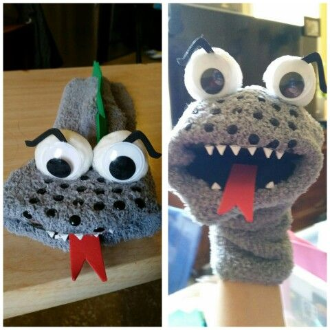 Sock Puppet. Mouth, tongue and back spikes are made of foam paper. The eyes are made of white pompoms and silly eyes. The teeth and eye brows are part of a spider making kit I purchased from the dollar section in Target. I used my hot glue gun to assemble.  #sockpuppet