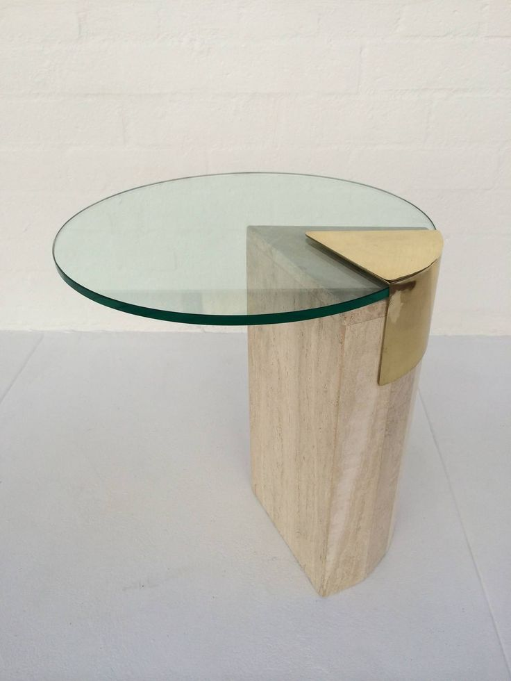 Travertine and Brass with Glass Side Table by Pace Collection. image 2