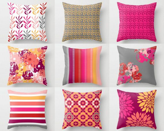 Pillow Covers, Throw Pillow Covers, Coral Fuchsia Hot Pink Honey White Grey Red Blush , Spring Pillow Covers Mix and Match!