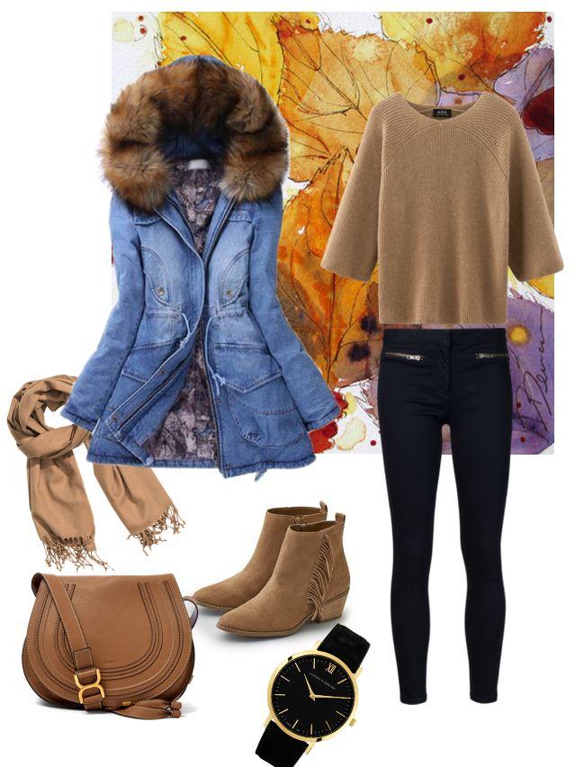 Джинсовая парка, бежевый свитер, черные джинсы, ботильоны, шарф, часы, сумка…