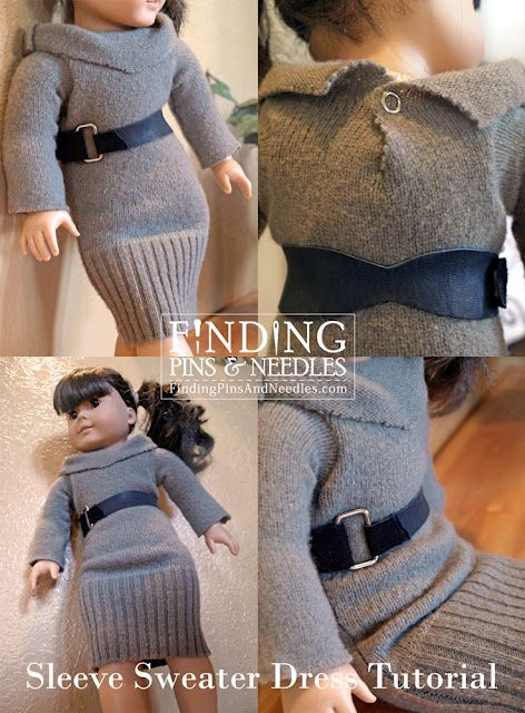 "Tutorial showing upcycled old sweater into a stylish sweater dress for dolls. Specifically 18"" or American Girl dolls."