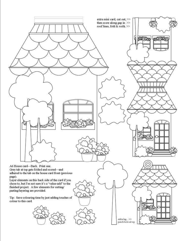 Back of A6 House Card. I've included some fun extra's on this one, a mini fold-over card and taglet.  Add as little or as much colour as you'd like.  Use as many layers as you want, or keep the card simple.  Have fun!!!