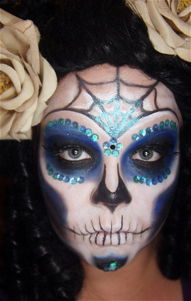 easy mexican sugar skull makeup for day of the dead by janiferwolf - Skull Faces Halloween