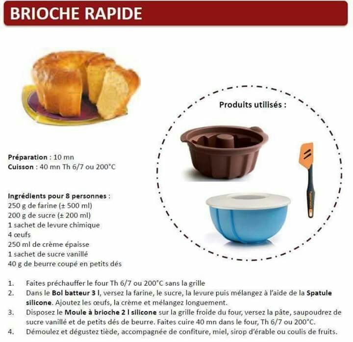 Tupperware brioche rapide tupperware pinterest - Cuisiner avec tupperware ...