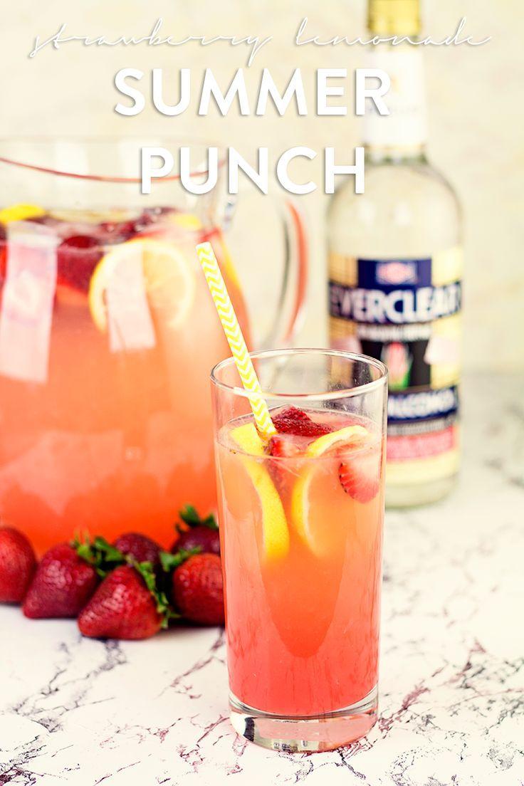Strawberry Lemonade Summer Punch with Homemade Strawberry Schnapps #makeityourown #miyo #miyobyeverclear