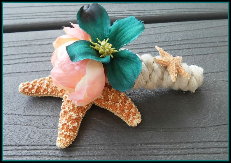 boutonniere, starfish, cream, Teal, Flower, best man, Bouquet, groom, sugar, wedding, pink, blue, aqua,  florida, tropical, seashell, beach by dieselboutique on Etsy https://www.etsy.com/ca/listing/243974119/boutonniere-starfish-cream-teal-flower