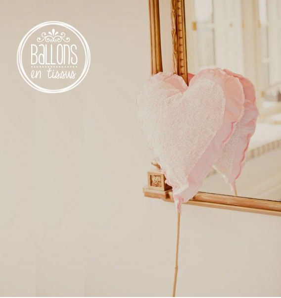 Diy ballon en tissu en forme de c ur d coration mariage pinterest mari - Decoration mariage ballon ...