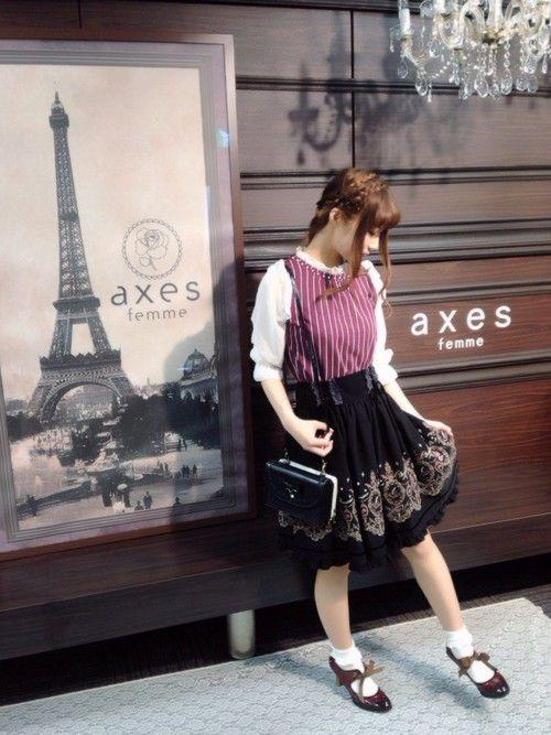 axes femme本社 | きよねさんのTシャツ/カットソー「axes femme フリル襟ストライプ柄プルオーバー」を使ったコーディネート