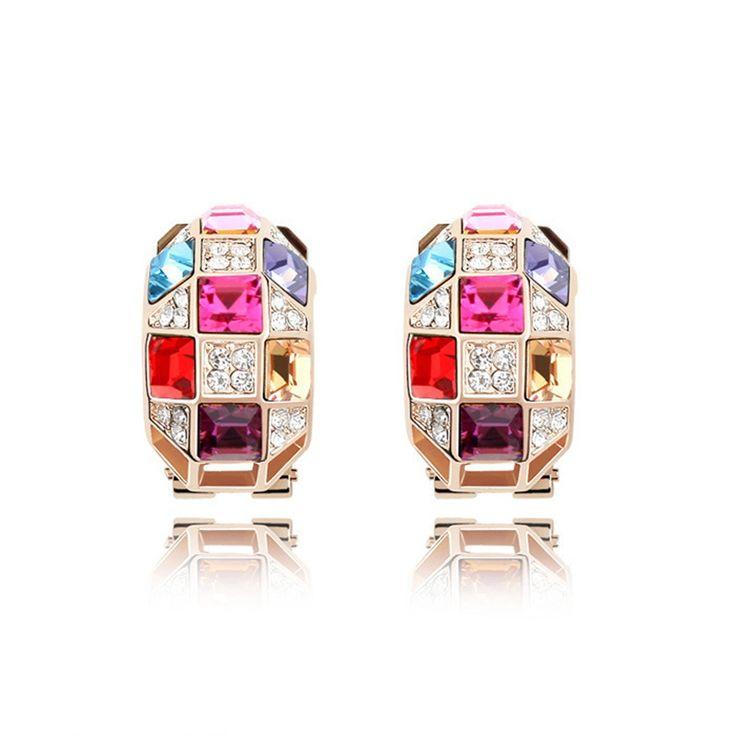 Austrian Crystal Stud Earrings - The Queen