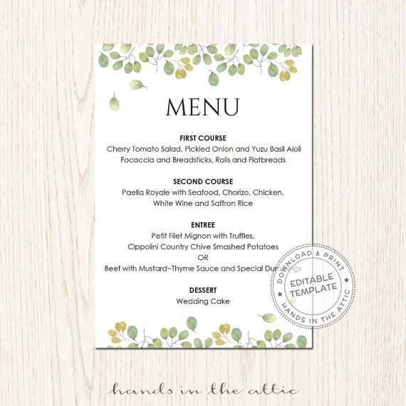 Oltre 25 fantastiche idee su Diy wedding menu cards su Pinterest - Menu Word Template