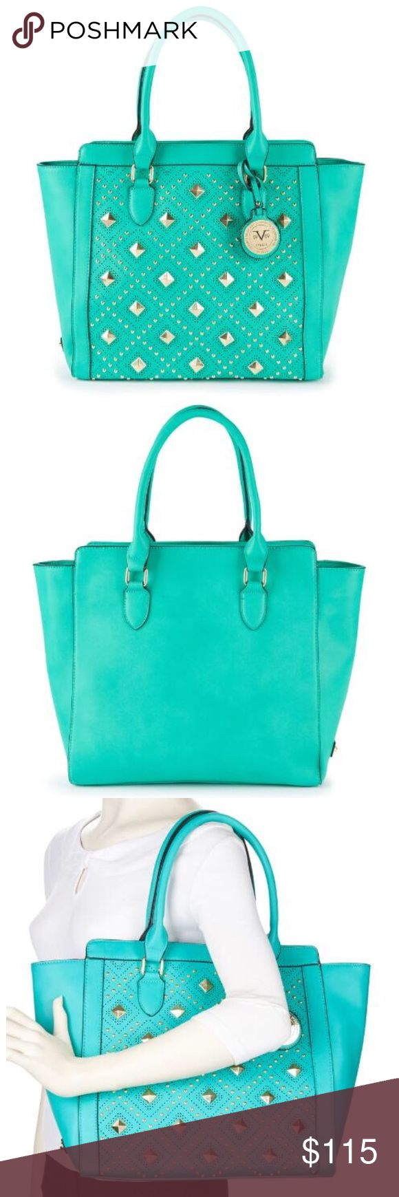 """V19.69 Italia by Versace • Veronika Tote The Veronika tote is part of the Versace 1969 Italia Abbigliamento Sportivo Collection. Designed with a perforated studded front for a casual elegance that will take you through the seasons in timeless style. Features gusseted sides, dual rolled top handles (7"""" drop) and secure zip top closure. A chic tribal print lines the interior for an overall couture look. Vegan Leather. Imported from Italy. Dimensions: 18"""" x 13"""" x 5.5"""" Two interior open pockets…"""