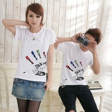 Buddha's Palm summer lovers summer ql Korean men and women short-sleeved t-shirt lovers Korean couple shirt d19