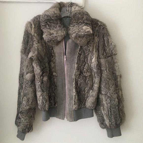 Rabbit fur bomber jacket (vintage) Super soft and cute rabbit fur bomber jacket. Jackets & Coats