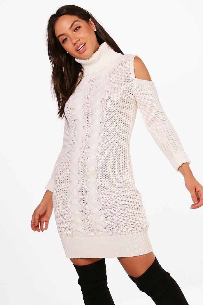 Maddison Roll Neck Cold Shoulder Jumper Dress